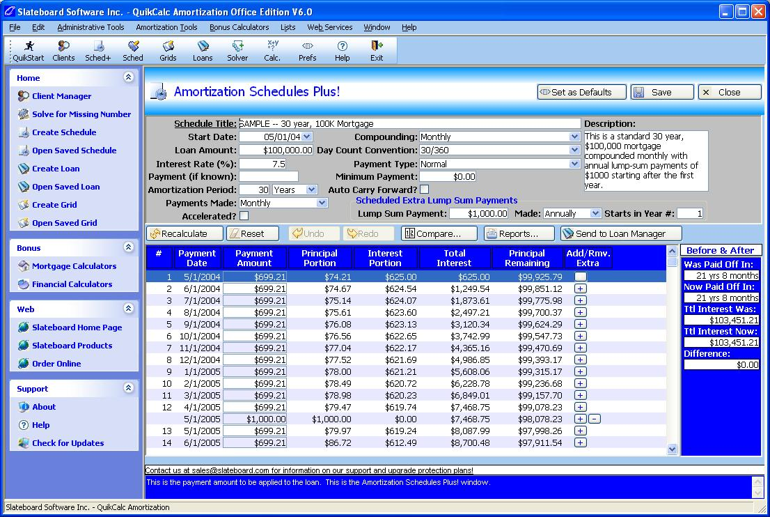 Powerful mortgage and loan calculator allows adding, skipping, changing payments