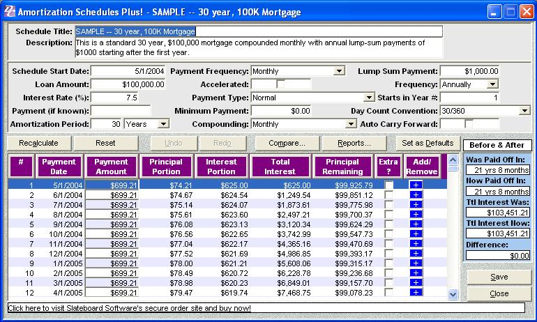 Debt Elimination Calculator Software Plus Edition Features