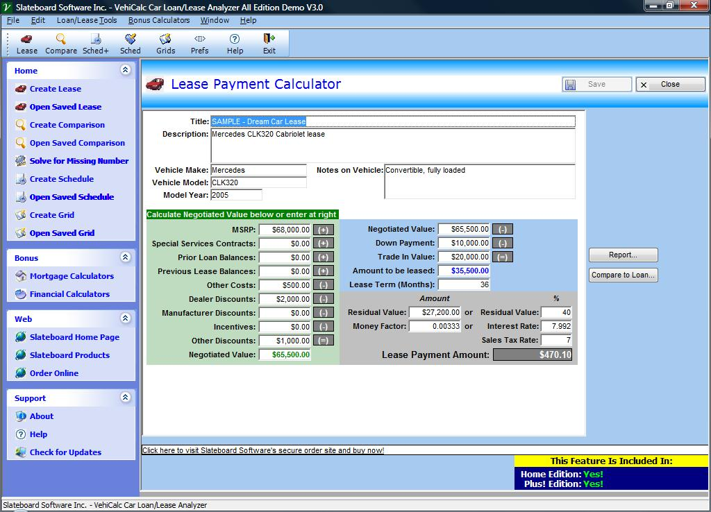 Vehicle  Car LoanLease Analyzer Screen Shots